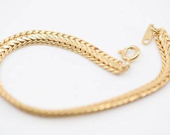 chain bracelet French vintage DAMART fashion jewellery single strand polished gold plated elegant gift present made in Korea c.1980s 16.5cm