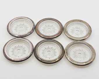 coasters Italian vintage lot of six starburst glass silver tone two with silverplate mark midcentury mod barware for the table made in Italy