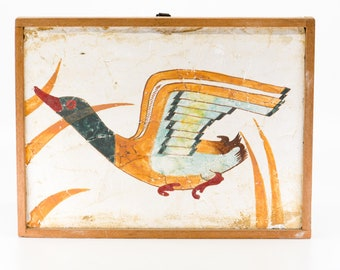 fresco fragment THERA ancient copy replica hand painted decorative tile wall art duck bird wood frame National Museum of Athens 1509 BC rare