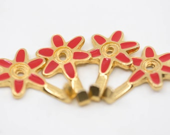 """hook small red flower polished brass French vintage enamel set of four 4 retro pretty kitchen towel cloth storage for the wall 3.5cm 1.4"""""""