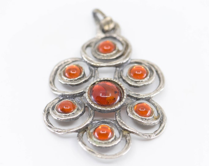 Featured listing image: statement large pendant French vintage modernist faux amber silver spheres in floral style arrangement costume jewellery mid century mod 70s