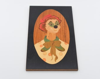 clown wall art marquetry varnished wood inlaid decor handmade plaque picture hanging for the wall high varnish lacquered rare finish