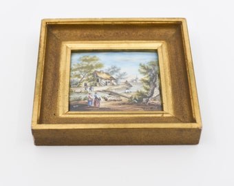 french miniature painting antique art square frame for the wall gilt bevel edge rural country cottage scene signed R DET rare collectible