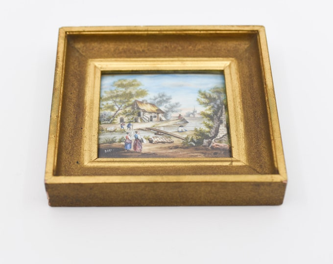 Featured listing image: french miniature painting antique art square frame for the wall gilt bevel edge rural country cottage scene signed R DET rare collectible