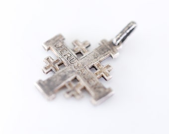 JERUSALEM cross charm pendant French vintage silver tone metal religious holy old small antique patina heraldic Christian five-fold symbol