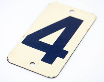 French vintage enamel door number 4 four house sign metal salvage architectural hardware dark blue ecru country home improvement rare 1950s