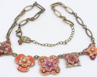 necklace enamel flower diamante French vintage collier pretty pink floral link chain jewellery adjustable stamped TS Paris single strand