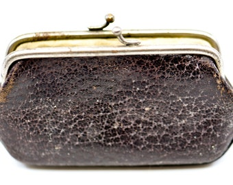 leather purse French vintage porte monnaie dark brown textured silver tone clasp double compartment small antique pouch purse 1940s rare