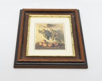 French vintage wall art wood frame with gold trim kitchen table still life grapes pomegranate rustic rural countryside decor for the wall