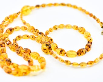 necklace Jean Andre Firenze Italian vintage faux amber early plastic graduated chunky long 3 strand statement costume jewellery