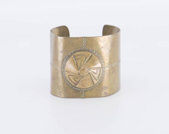 antique cuff bangle French art deco vintage brass chunky bracelet geometric 3 triangle fan motif statement collectible jewellery 1930s rare