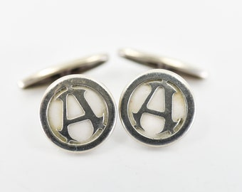 cufflinks antique monogram A silver letter pearl round suit tie accessory cuff links matching pair French vintage wedding for the groom rare