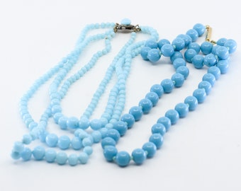 2 glass bead necklaces art deco turquoise 3 strand blue 1 strand vintage Chinese carved peking style jewellery stamp made in France rare