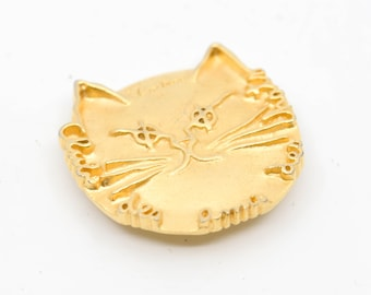 cat head brooch JEAN COCTEAU gilded bronze club des amis de chats signed comite edition flammarion 1999 collectible jewellery gold tone rare