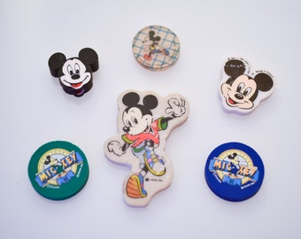 vintage Mickey Mouse eraser set of 6 Walt Disney character pencil rubbers by Michel Oks collectible comic movie memorabilia made in Taiwan