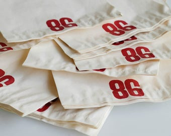 gift packaging vintage printed paper bags wrapping bold red number 86 retro merchandise industrial numerical craft party wedding lot of 38