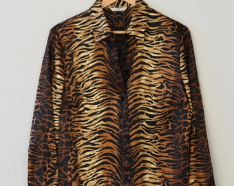 tiger animal print blouse English vintage St Michaels Marks and Spencers long sleeve button shirt top shiny gold polyester UK 16 EU 44 90s
