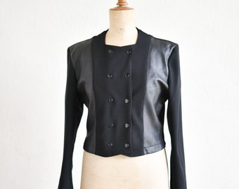 80s Yan Takeo black jacket double breasted blazer Ottoman model French vintage retro fashion high waist polyamide made in France 1980s rare