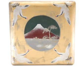 golden Mount Fuji lacquer box lidded Japanese vintage jewellery craft supply storage container mountain stork geese birds chinoiserie square