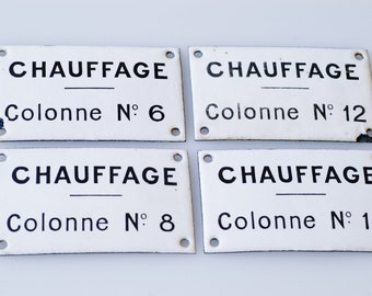 French enamel metal plaques lot of four plates vintage signage lot of four industrial loft utility heating black white decor for the wall