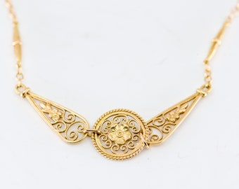 gold chain necklace French vintage flower openwork minimal simple layering elegant