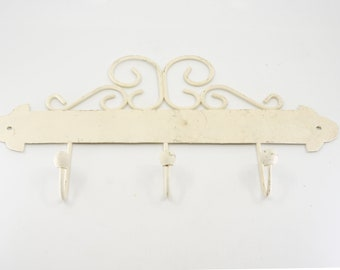 french vintage coat 3 hook rack ecru metal wire ball pegs off white metal shabby chic salvage home deco for the wall original painted rustic
