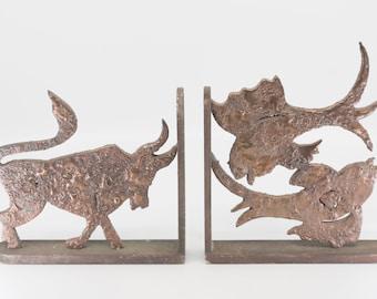 brutalist book ends French vintage home bookshelves door stops iron copper animalerie heavy L shape birds bull pair signed EG rare 70s art