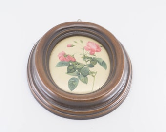 miniature wall art silk pink rose wood oval frame flower print for the wall botanical floral midcentury home decor French vintage 1950s