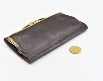 English vintage dark brown leather wallet note section coin purse gold clasp texture real Morocco made in England 1970s unisex pouch rare