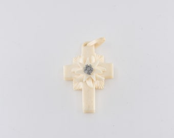 carved cross pendant French antique art deco faux ivory early plastic celluloid religious crucifix church spiritual vintage jewellery c1930s