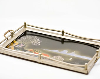 antique serving tray reverse painted black glass metal footed wood back oriental Japanese vintage Victorian or Art Deco period aged rare