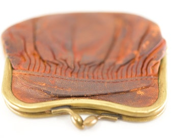 antique coin purse French vintage shabby chic leather pouch soft brown battered genuine leather small coin purse made in France c.1930s rare