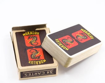 playing cards vintage DUCALE publicity MOKALUX coffee 54 card pack original packaging red black seahorse midcentury collectible game 1950s