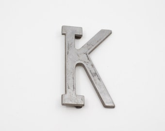 """salvaged letter K French vintage industrial metal K sign stencil cut out silver tone aluminium 10cm 4"""" midcentury modern loft decor 1960"""