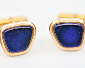 cufflinks French vintage Charles Murat blue gold MCM wedding jewellery for double cuff dandy fashion for the groom boutons de manchette rare