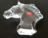 horse head vintage baccarat clear crystal tête de cheval animal figurine handcrafted collectible glass art sculpture made in France