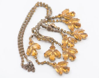 crystal bib necklace French antique costume jewellery collier ancien adjustable glam statement gold faux amber tone encrusted 1940s rare