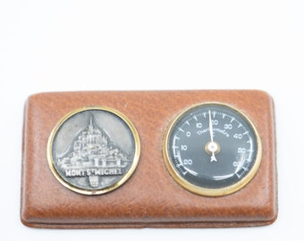 thermometer and metal coin souvenir Mont St Michel French vintage travel memorabilia midcentury modern collectible gift home decor c.1970s