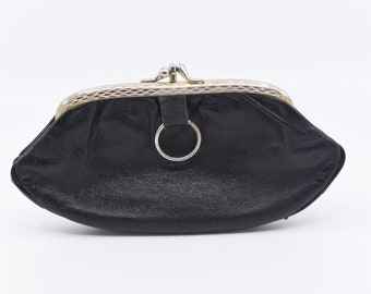 French vintage coin purse soft black leather fabric lining silver tone metal clasp large long two compartment retro midcentury pouch 1950's