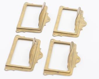 cabinet filing index card drawer pulls French brass industrial metal handles furniture restoration holder vintage label pull lot of 4