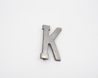 """salvaged letter K French vintage industrial metal K sign stencil cut out silver tone aluminium 7cm 2.75"""" midcentury modern loft decor 1960s"""