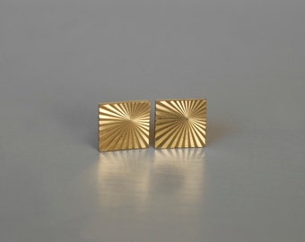 cufflinks french gold plated galvanised metal dandy fashion midcentury geometric op art fashion vintage pair fashion made in France 1960s