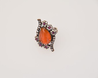 vintage 925 silver statement ring large ornate costume jewellery with faceted orange pear shaped gem centrepiece pretty strass detail U50