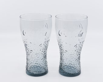 vintage coca cola glasses macdonalds 1990 matching pair tinted retro barware coke tumblers for drinking collectible advertising merchandise