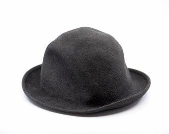 vintage grey fedora hat men's dark pure felt French chapeau PATTERSONS PARIS MOSSANT size 58 or 5.5 feutre ancien dandy gentleman rare 1970s
