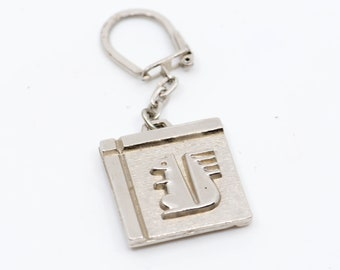 squirrel key fob chain French vintage Caisse d'Epargne logo relief large solid metal square double side nature animal made in France 1990s