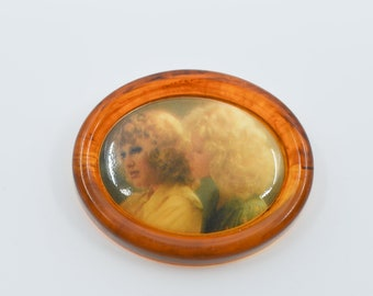 vintage portrait pin dress brooch clip early plastic two females in portrait oval french vintage fashion accessory collectible jewellery