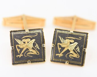 damascene mythical chimera cuff links black gold winged asian mythology creature in relief square hinge cufflinks one pair double cuff shirt