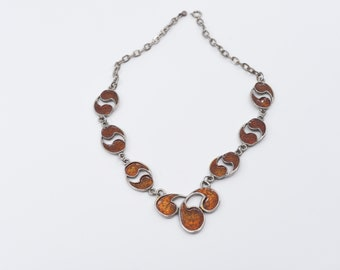 vintage enamel necklace French modernist chain link statement fashion jewellery burnt orange textured inlay articulated gift for her  c1970s