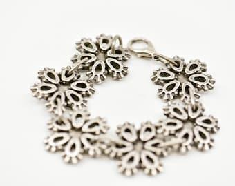 bracelet link chain floral silver tone Philippe Audibert Paris French vintage designer costume jewellery stamped modernist inspired c1980s